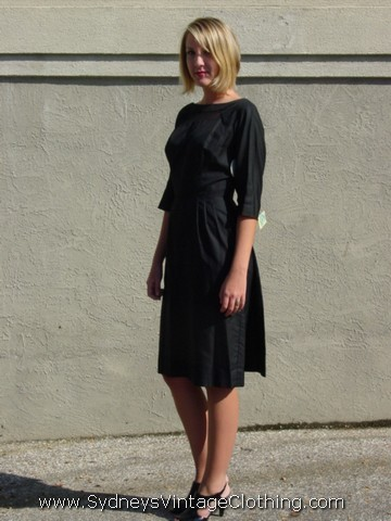 40s black tea length gown