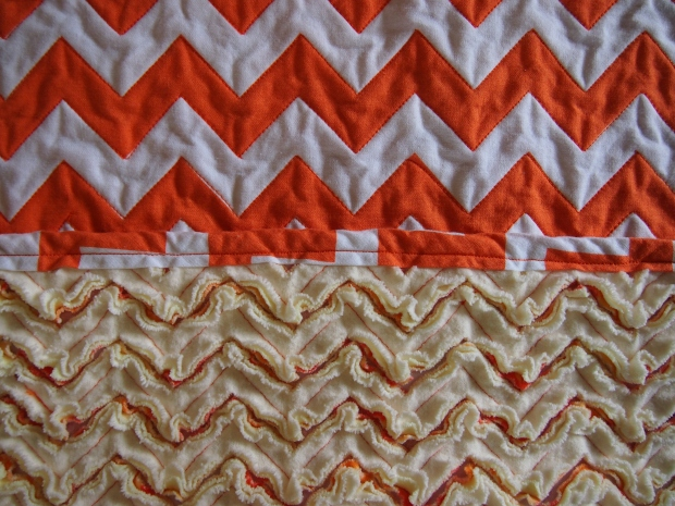 Ta da! Chenille chevron side post-wash