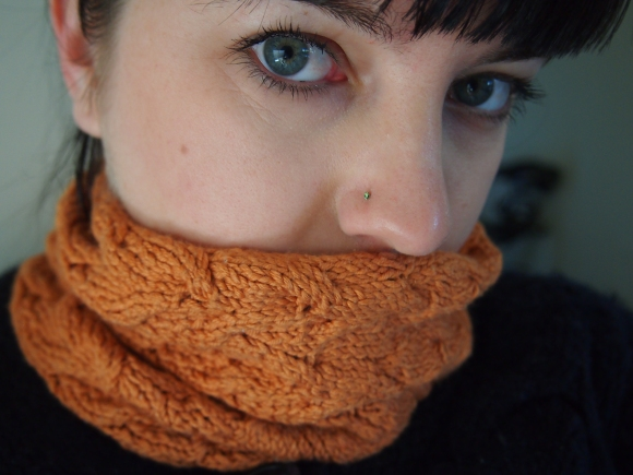 Wearing my new assinboine cowl